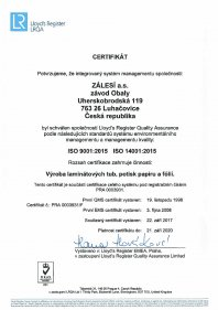 ISO 9001:2015 (Obaly)